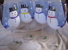 Wine Glasses, Snowmen handpainted