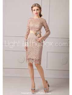 Sheath / Column Petite Mother of the Bride Dress Knee-length Lace with Lace / Sash / Ribbon 2017 - $80.99