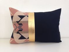 "Pendleton wool Decorative Pillow Cover 13""x18""taupe, pale pink block of Gold faux leather by sheshappydesign, $45.00"