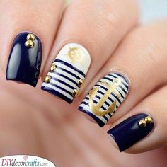 Anchor Nail Art Designs shape of your nail is very important to the styles you select. Nautical Nail Designs, Nautical Nail Art, Anchor Nail Designs, Beach Nail Designs, Acrylic Nail Designs, Nail Art Designs, Nails Design, Anchor Nail Art, Cruise Nails
