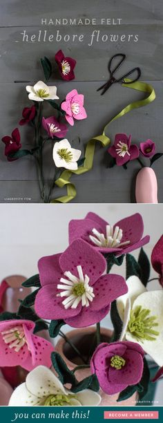 Felt Hellebore Flower Pattern & Tutorial Informations About Felt Hellebore Flower Patte Felt Diy, Handmade Felt, Felt Crafts, Felt Flowers Patterns, Felt Patterns, Faux Flowers, Diy Flowers, Diy Leather Flowers, Zipper Flowers