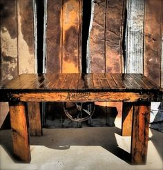 Vintage Lineberry Railroad Cart Industrial Rustic Kitchen Table   eBay