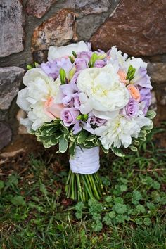 Ivory and Purple Bridal Bouquet |