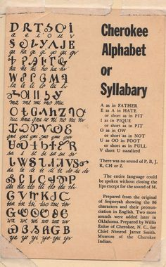 "Cherokee Alphabet, on a postcard from an old family schoolbook I have, ""Cherokee Words"" #Cherokee #nativelanguage #syllabary"