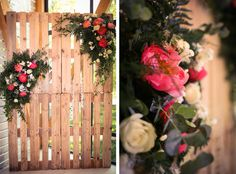Botanic wedding with bright peonies. Floristic and decor by Fleur de Vanille, Moscow. Pallets Photobooth.