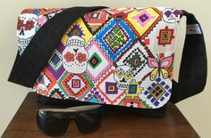 Messenger bag, adults messenger bag, crossover bag, large messenger bag, skulls messenger bag, orange skulls, colorful skulls