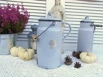 alte Milchkanne Email Emaille grau shabby chic