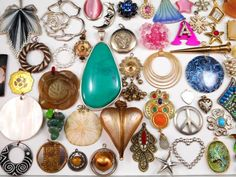 Huge  65 PC Charm Pendant Jewelry Lot Great for Resale~Crafts~Re-Purpose-Etc