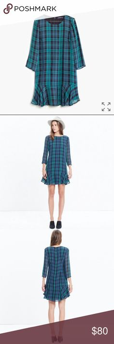 "NWT Madewell Silk Ruffle Hem Dress Beautiful and lightweight blue and green plaid dress with ruffled hem. Brand new! Zipper back. 3/4 length sleeves. Sleeves are sheer and rest of Dress is lined. Bust is approx 38"" and length is 35"". Madewell Dresses"