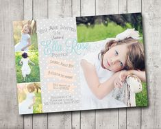 Girl LDS Baptism Photo Invitaton Announcement Peach Mint Gray Polka Dots Customizable Digital File Shabby Glam Princess