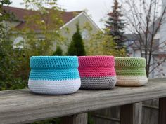 Colorful Crochet Bowls Free Pattern