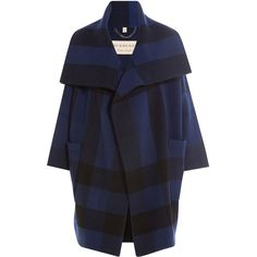 Burberry London Printed Coat (5,165 SAR) ❤ liked on Polyvore featuring outerwear, coats, blue, cropped coat, lapel coat, cocoon coat, oversized cocoon coat and burberry