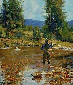 Mid Summer Trout Brett Smith fly fishing painting, brettsmith.com