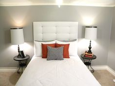 $20 DIY headboard.. 1.This blog is amazing. 2. Seriously?? $20 for this adorable (& EASY) headboard??