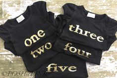 BIRTHDAY! Little girls black and gold lettering, age, birthday party shirt, photo prop, pictures, outfit, age, two, three, four, five, chic by POSHinPINKKIDS on Etsy