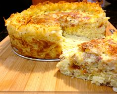 Quiche with hash brown crust, try sweet potatoes, goat cheese, bacon, spinach