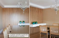 Wood tones on the wall and furniture.