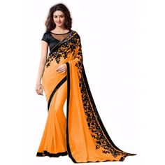 ORANGE FLOWER BOLLYWOOD SAREE_00