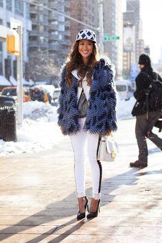 kenzo baseball cap and faux fur jacket, hudson jeans, saint laurent heels  #letyourselfgo