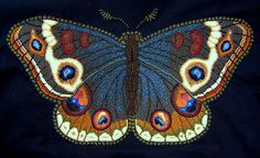 Beaded Painting Moth 18'' w x 12'' h. Back shoulder panel of a jacket.