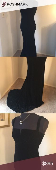 ❤️NAEEM KAHN EVENING GOWN 💯AUTHENTIC NAEEM KAHN EVENING GOWN 💯AUTHENTIC . SUPER HIGH END LUXURY! RED CARPET EVENING GOWN TO THE STARS. THIS IS BLACK LIGHT WEIGHT FLOWY VELVET. IT IS FINE SILVER PINSTRIPES. THE SIZE SAYS 14 BUT SEEMS CLOSER TO 12. THE BUST MEASURES 18.5 INCHES ACROSS AND 37 INCHES AROUND. THE HIP IS 44 INCHES AROUND. THE LENGTH DOWN THE FRONT INCLUDING THE STRAPS IS 64 INCHES. IT IS SILK LINED AND HAS A REAR ZIPPER. PLEASE FEEL FREE TO ASK QUESTIONS ABOUT THIS SUPER HIGH…