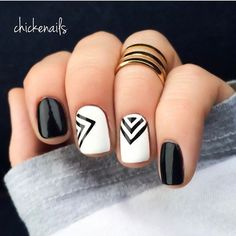 Throwing it a couple years back this #FlashbackFriday to one of my fave geometric nail designs What are some of your favorites? Polishes used: Alpine Snow @opi | Black in @ninaultrapro nina & @konad_official @bundlemonster stamping plate 604 Ring: @ardene .