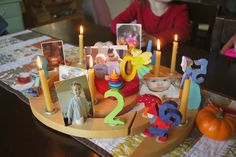 waldorf birthday ring - love the photos and lighting the candle to represent, tell a tiny bit about each year...