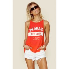 3934 Mermaid Off Duty Tank ($58) ❤ liked on Polyvore featuring tops, tank tops, red, summer tops, spaghetti-strap tank tops, spaghetti-strap top, scoopneck tank and strappy top