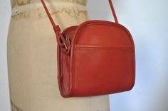 ABBIE Coach Red Purse / small leather bag by badbabyvintage on Etsy