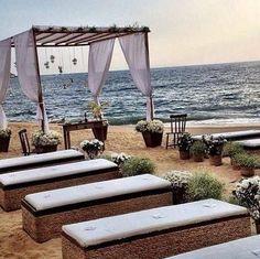BEACH WEDDING INSPIRATION. Great seating idea.