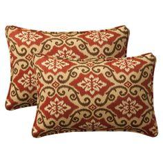 Amazon.com - Pillow Perfect Decorative Red/Tan Damask Toss Pillows, Rectangle, 2-Pack - Throw Pillows