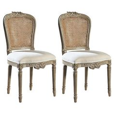 Dining Chairs - One Kings Lane Luxury Dining Chair, Wicker Dining Chairs, French Country Dining Chairs, French Chairs, Dinning Table Design, French Home Decor, Furniture Inspiration, Home Bedroom, Decoration