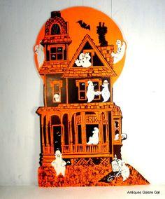 Vintage Halloween Die Cut Wall Decor Haunted House Ghosts 148 14
