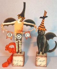 Fairy Cat Witch Halloween Blocks Mixed Media Altered Folk Prim Art Collage OOAK   eBay