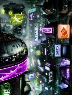 DJ1251 Cyberpunk Sci-Fi Future City Art 32×24 Print POSTER, Futuristic Wall Decal $12.95