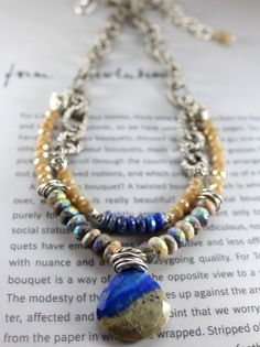 ON SALE necklace dendrite opal necklace lapis by soulfuledges