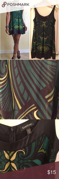 "🎉SALE Bebe Silk Trapeze Dress XS 🌴100% Silk Dress with Silk Liner 🌴 Hidden Back Zipper w/ Hook 🌴Small Snags on dress Length is 30 1/2"" bebe Dresses Mini"
