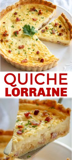 Classic Quiche Lorraine – Gold Standard of Quiche Recipes! Classic Quiche Lorraine with a savory egg custard, bacon, and cheese filling in flaky pie crust. Quiche Lorraine is the gold standard of quiche recipes! Perfect breakfast and brunch food. Keto Quiche, Crust Less Quiche, Bacon And Cheese Quiche, Cheese Bread, Breakfast Dishes, Breakfast Quiche, Tasty Breakfast Recipes, Breakfast And Brunch, Breakfast Burritos