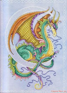 Crescent Moon Dragon by Joan Elliott (from her Bewitching Cross Stitch book). In Russian, but pattern is zoomed into segments with color IDs listed.