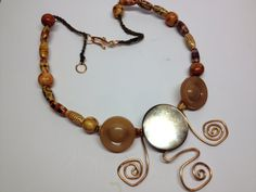 Copper Bead and Vintage Button necklace by BornAgainButtons, $20.00
