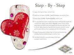 Red heart step-by-step Bio Sculpture, Nail Art Galleries, Wax Paper, Art Tutorials, Fun Nails, The Cure, How To Apply, Shapes, Create