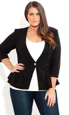 Curvy fashion: peplum black jacket with denim #plussize