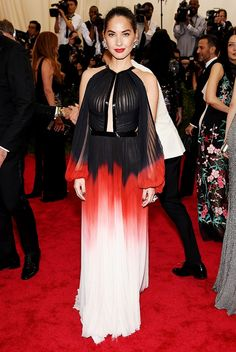 Olivia Munn in an ombre J. Mendel dress at the Met Gala.