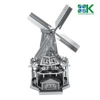 Funny Puzzle Construction Famous Buildings Over The World 3D Metal Model Puzzles WINDMILL  Stainless Steel