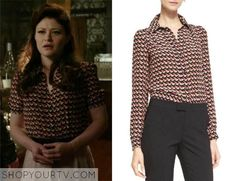 Once Upon a Time: Season 4 episode 20 Belle's bird print blouse Librarian Chic, Belle Outfit, Yellow Print, Bird Prints, Silk Crepe, Printed Blouse, Black Blouse, Season 4, Polka Dot Top