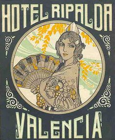 Vintage luggage label for the Hotel Ripalda in Valencia, Spain