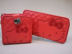 Red quilted wallet and clutch