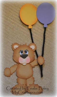A Balloon Bear Premade Scrapbooking Embellishment by MyCraftopia, $4.95