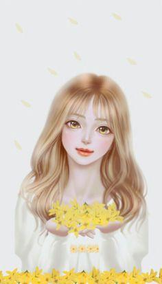A sweet girl with yellow flowers ♡ Anime Korea, Korean Illustration, Lovely Girl Image, Cute Girl Drawing, Cute Girl Wallpaper, Rose Girl, Tumblr Art, Art Addiction, Postcard Art