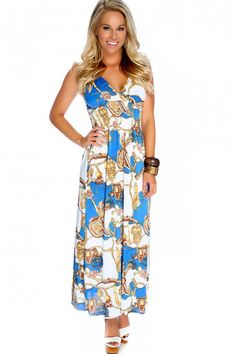 Sexy White Blue Laced Strap Printed Detail Maxi Dress